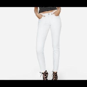 Express Mid Rise White Skinny Jeans